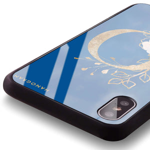 Golden Floral Monogram Princess Blue Glass Case