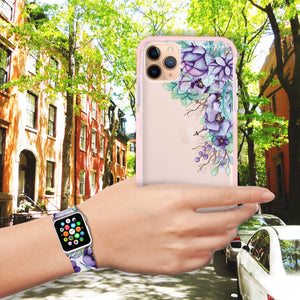 Purple Floral - Frosted Bumper Case and Watch Band
