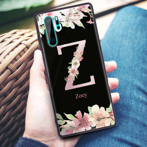 Monogram & Floral Huawei Glass Case