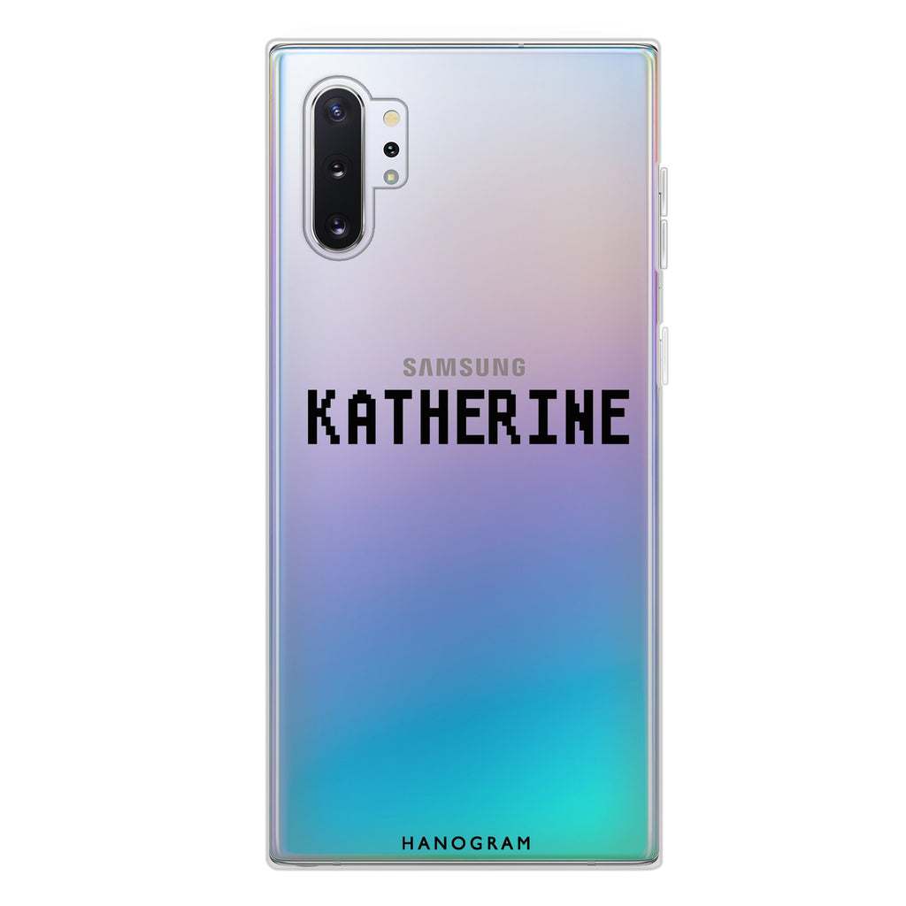 Pixel Custom Name Samsung Note 10 Plus Soft Clear Case