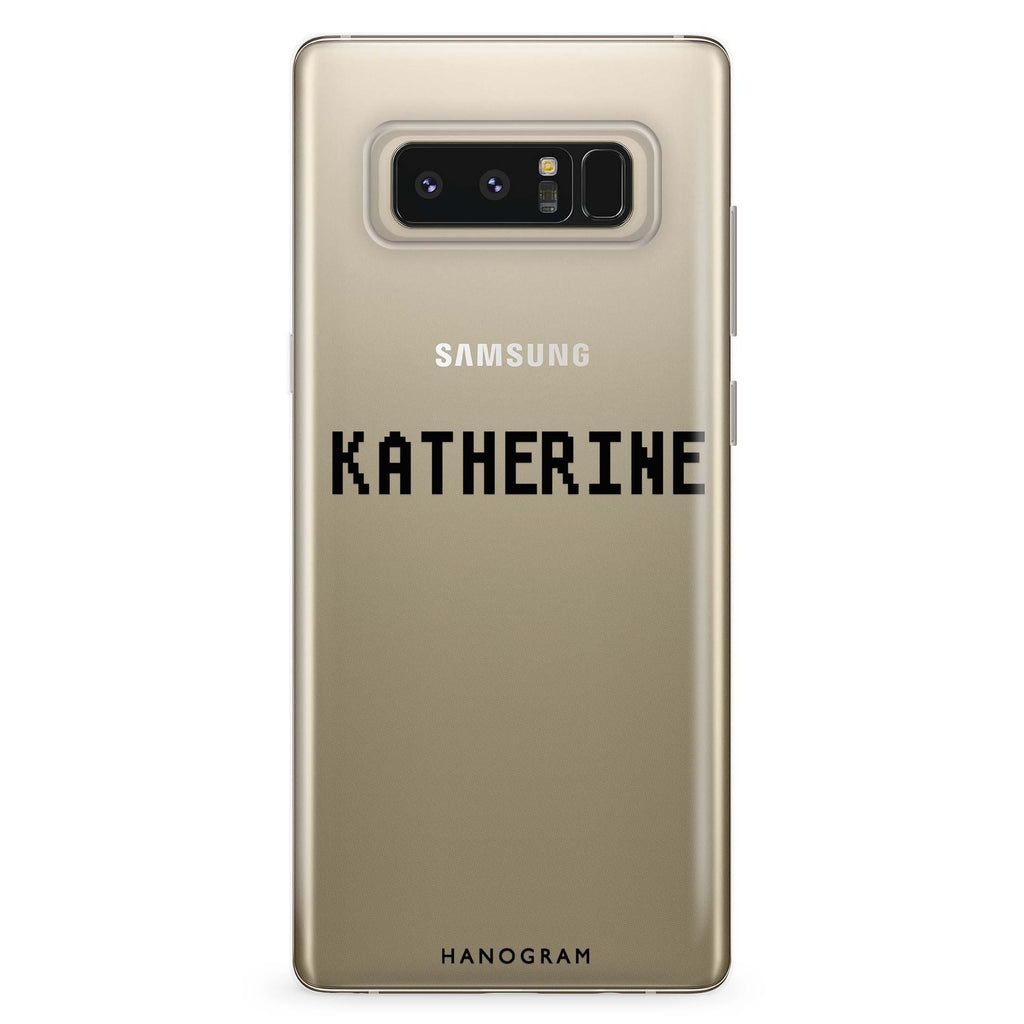Pixel Custom Name Samsung Note 8 Soft Clear Case