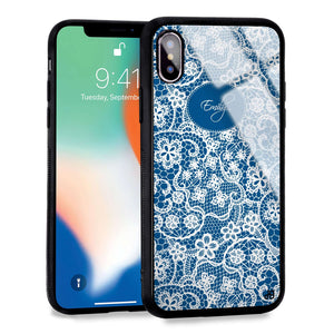 My Floral Lace Princess Blue Glass Case