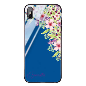 Pink Flowers Princess Blue Glass Case