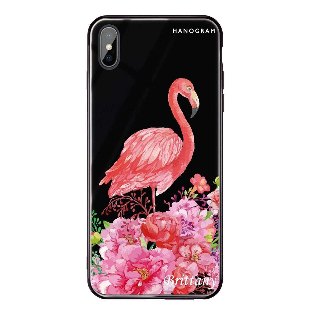 Flamingo & Flower iPhone XS Max Glass Case