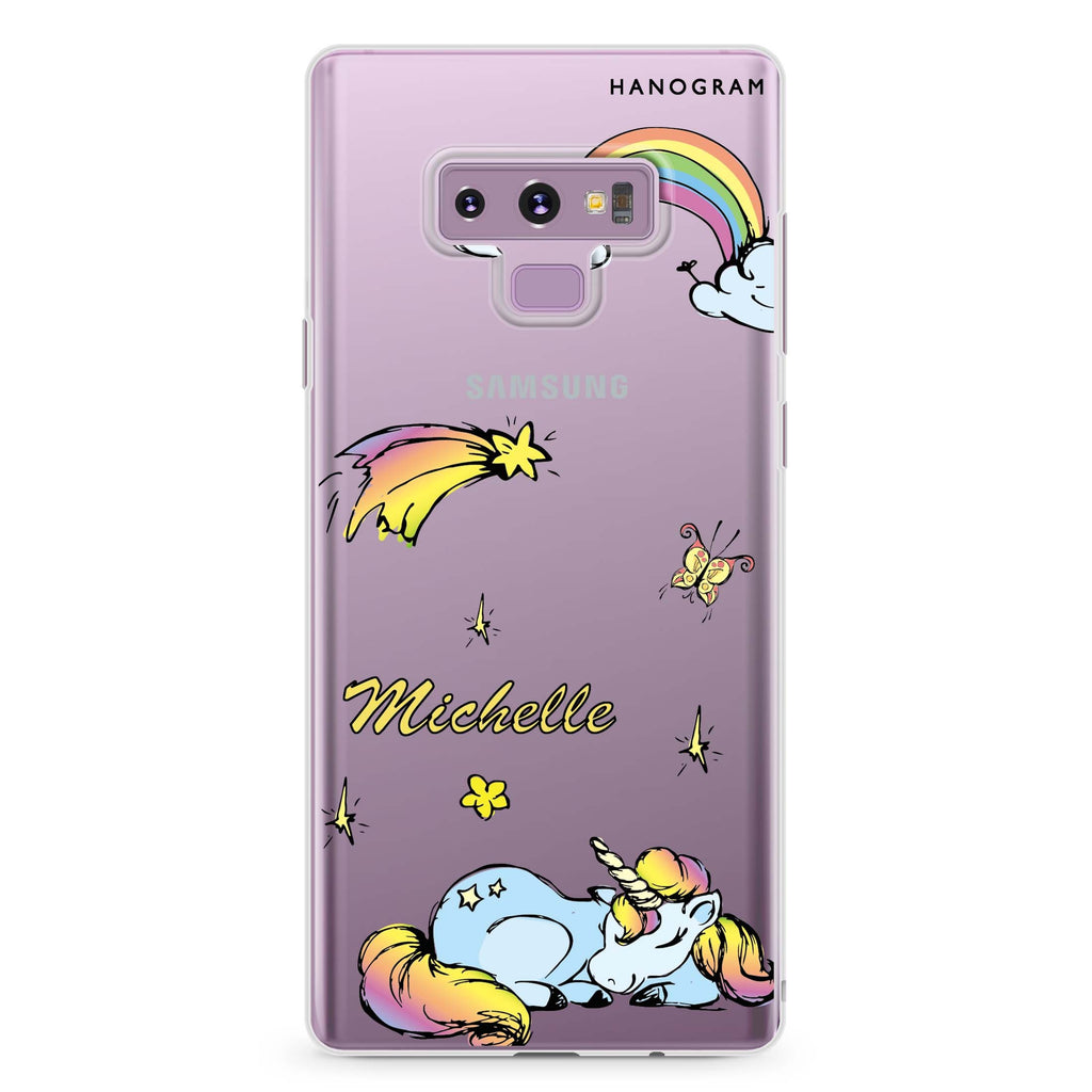 Rainbow Unicorn Samsung Note 9 Soft Clear Case