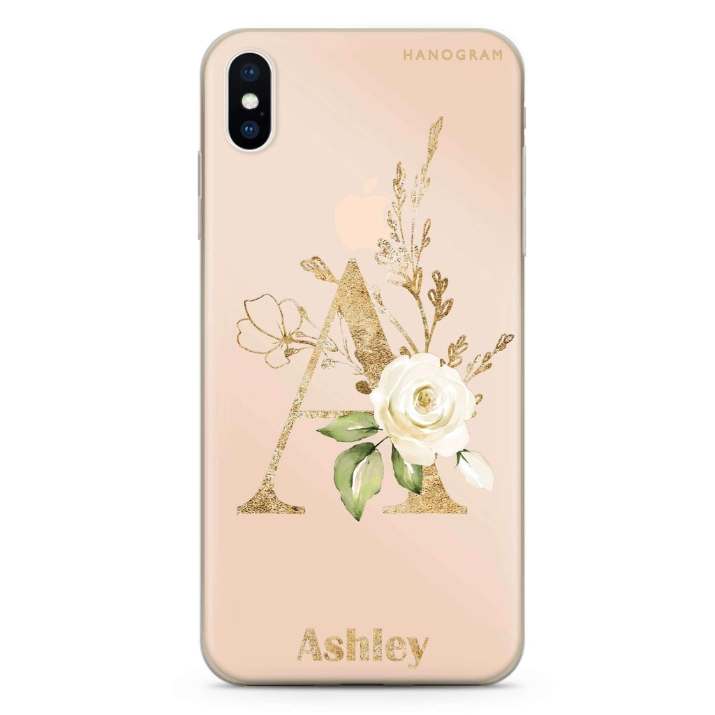 Golden Floral Monogram iPhone XS Soft Clear Case