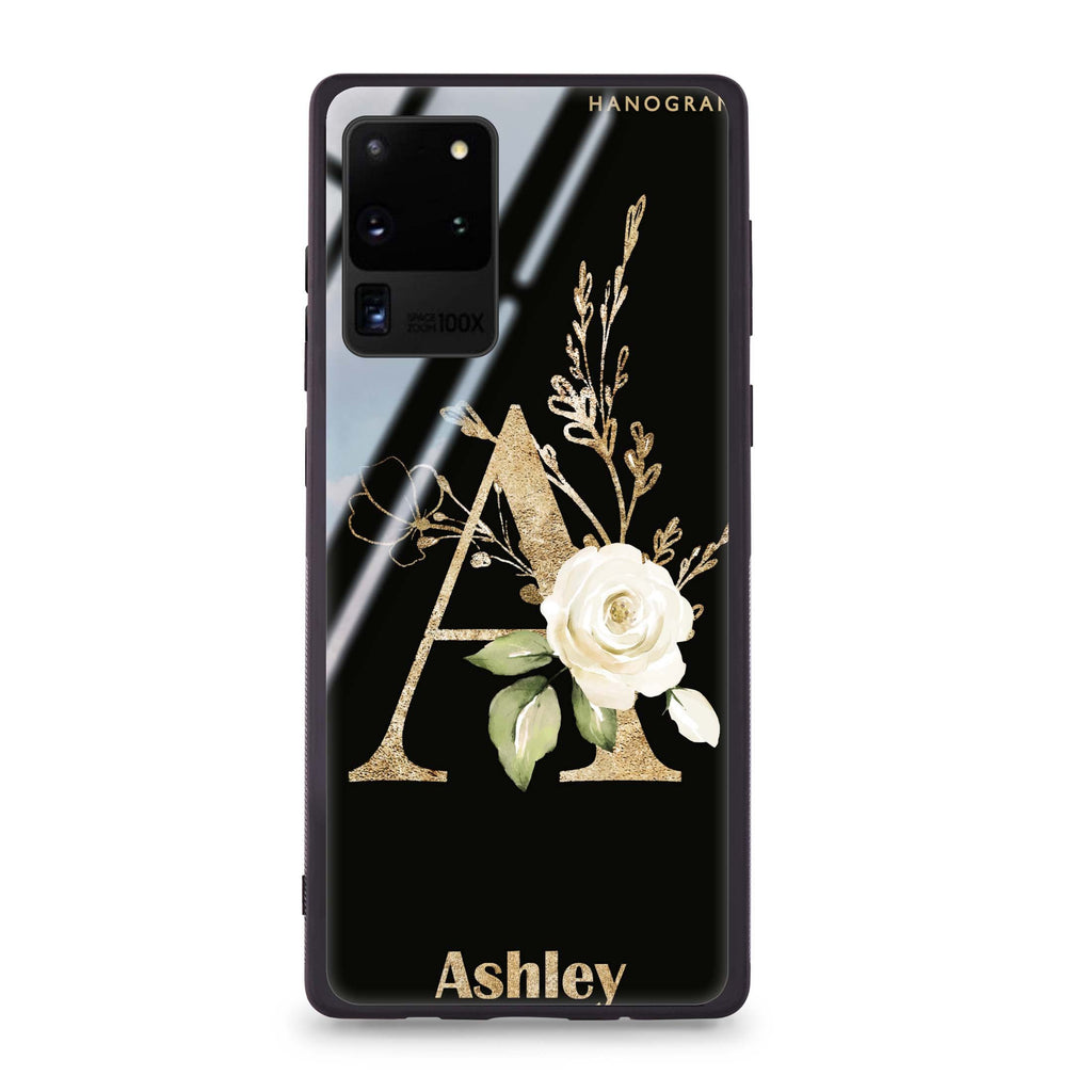 Golden Floral Monogram Samsung Glass Case