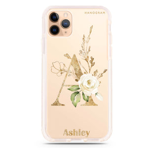 Golden Floral Monogram iPhone 11 Pro Max Frosted Bumper Case
