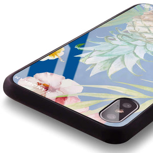 Pineapple & Floral Princess Blue Glass Case
