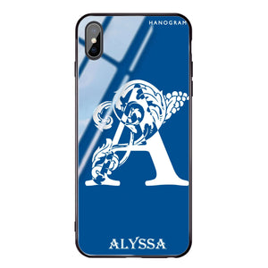 Ornamental Alphabet Princess Blue Glass Case