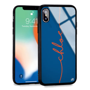 Vertical Handwritten Princess Blue Glass Case