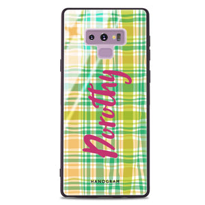 Plaid Samsung Note 9 Glass Case