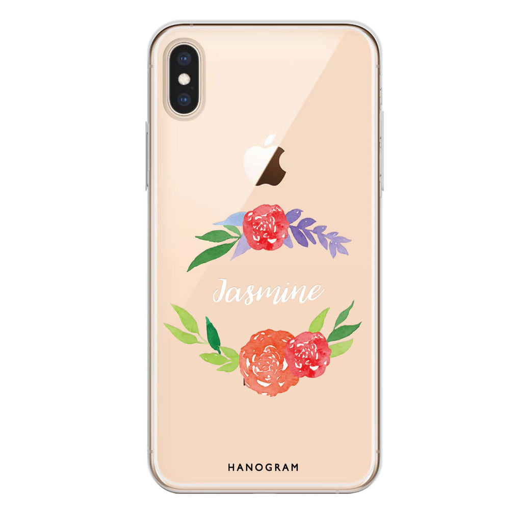 Floral Circle iPhone XS Max Soft Clear Case