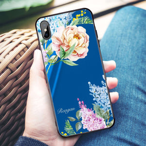 Tropical Floral Princess Blue Glass Case