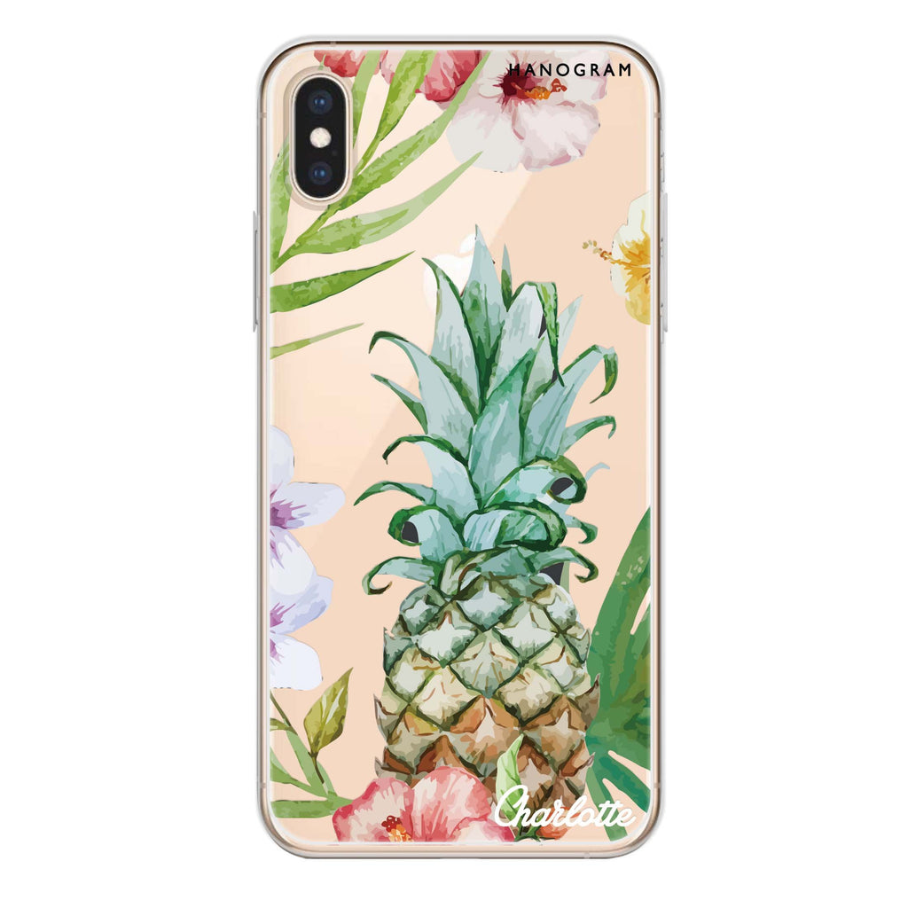 Pineapple & Floral iPhone X Soft Clear Case