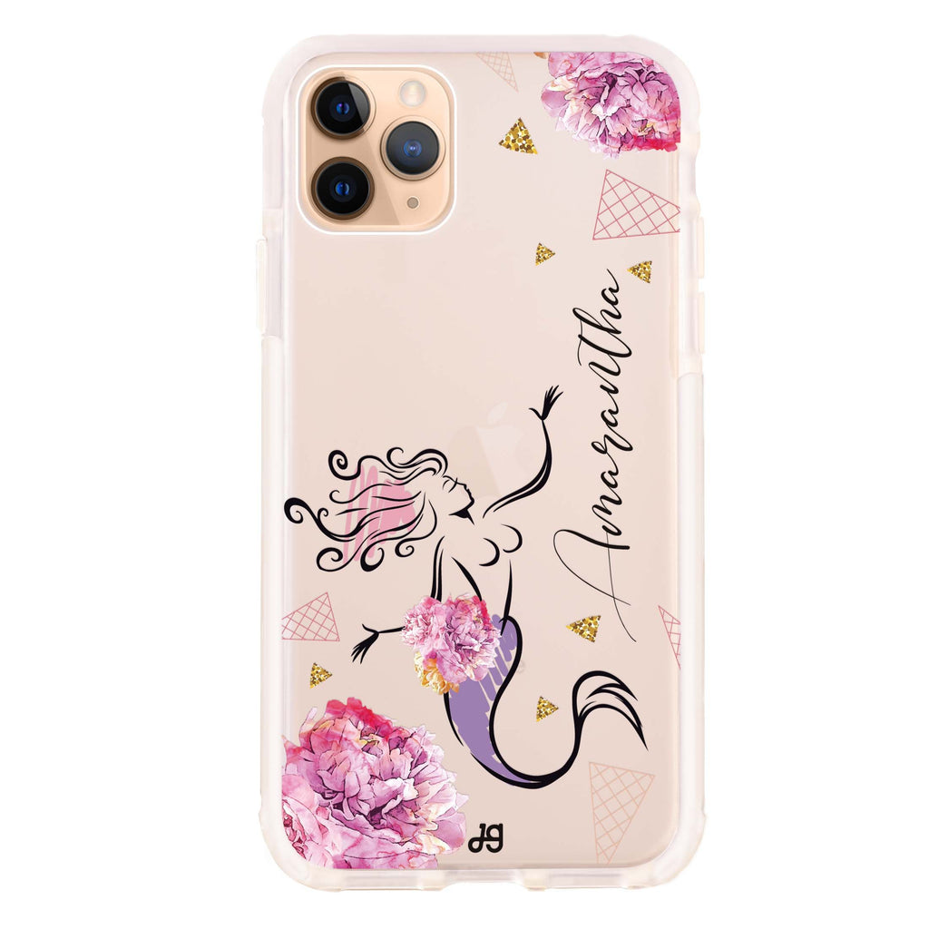Mermaid With Flower iPhone 11 Pro Max Shockproof Bumper Case
