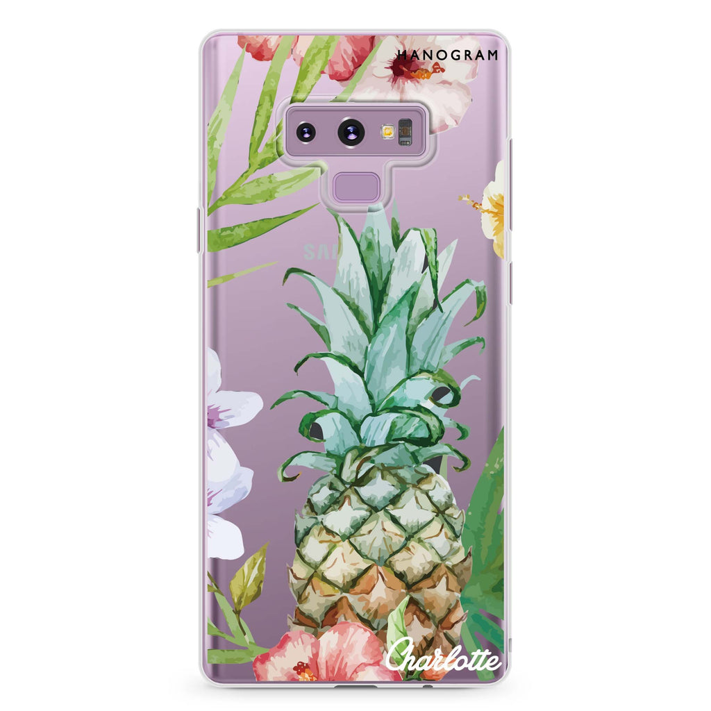 Pineapple & Floral Samsung Note 9 Soft Clear Case