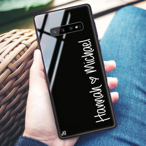 Vertical Names Samsung S10 Plus Glass Case