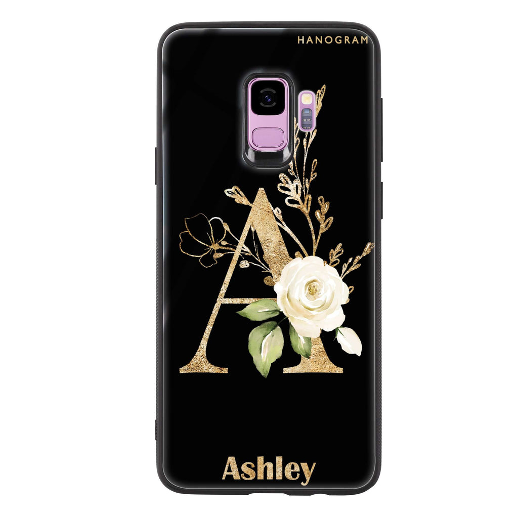 Golden Floral Monogram Samsung S9 Glass Case