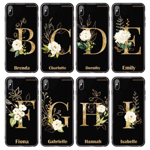 Golden Floral Monogram iPhone XS Max Glass Case