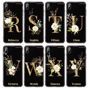 Golden Floral Monogram Huawei Glass Case