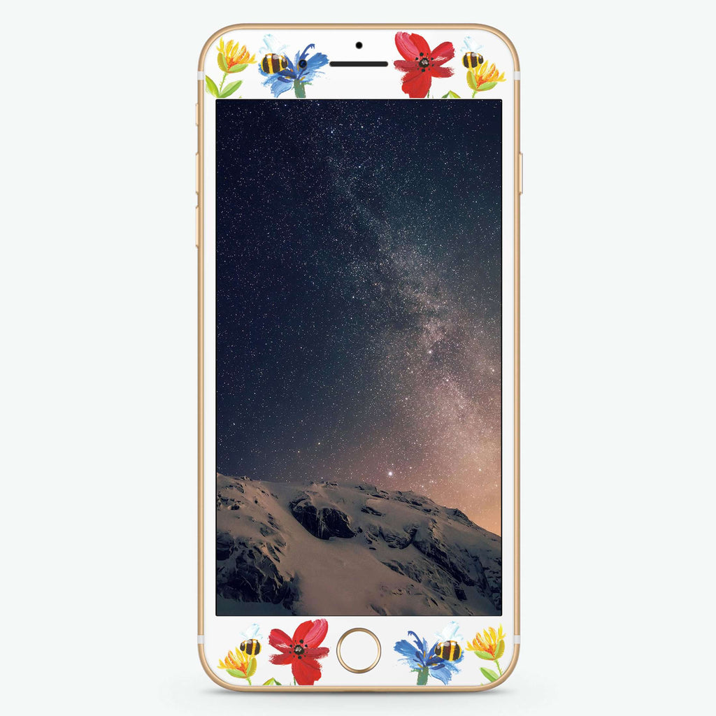 Watercolor Florals Artistic Skin Screen Protector For iPhone