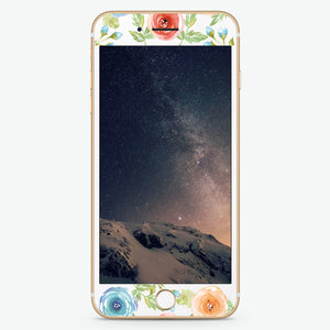 Tropical Watercolor Florals Artistic Skin Screen Protector For iPhone