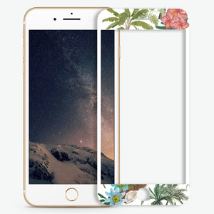 Tropical Watercolor Flowers Artistic Skin Screen Protector For iPhone