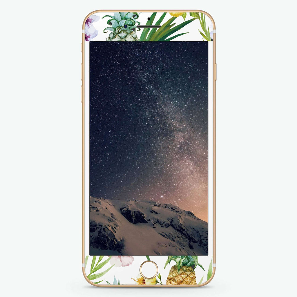 Pineapple & Floral Artistic Skin Screen Protector For iPhone