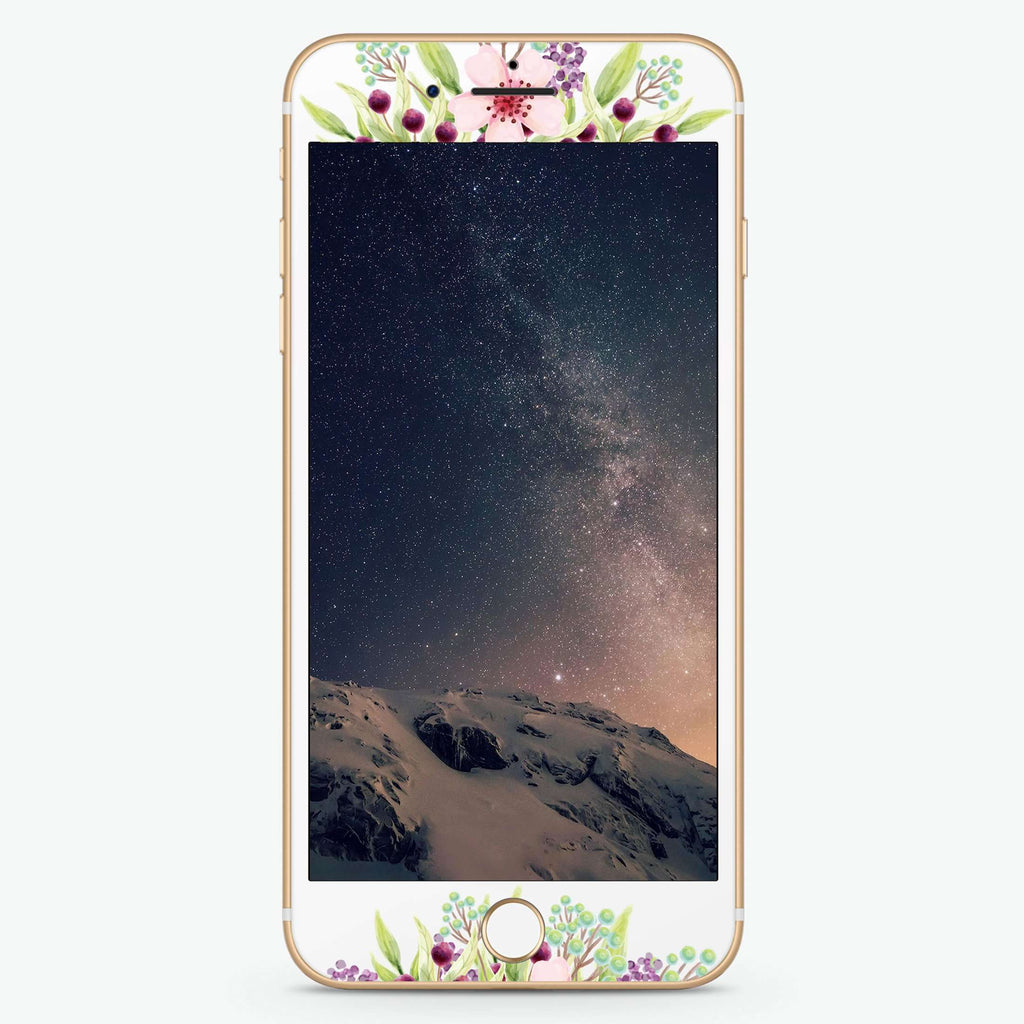 Pink Flowers Artistic Skin Screen Protector For iPhone
