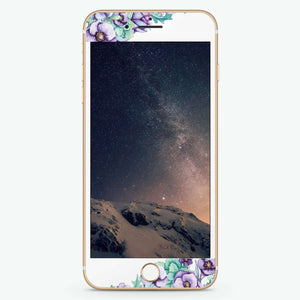Purple Floral II Artistic Skin Screen Protector For iPhone