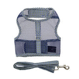 Seersucker Blue and Hunter Green Plaid Cool Mesh Velcro Dog Harness with Leash - Miami Pooch Pet Boutique