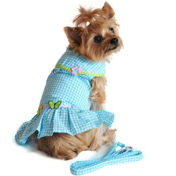 Gingham Flower Dog Dress and Leash - Miami Pooch Pet Boutique