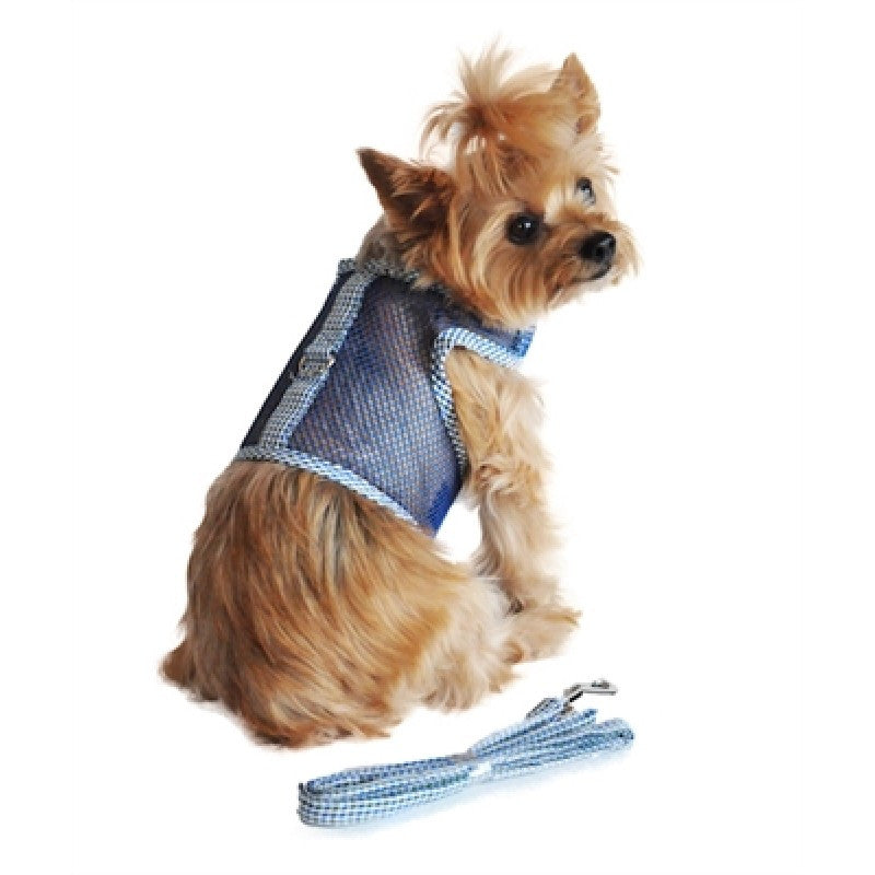 Seersucker Blue and Hunter Green Plaid Cool Mesh Velcro Dog Harness with Leash