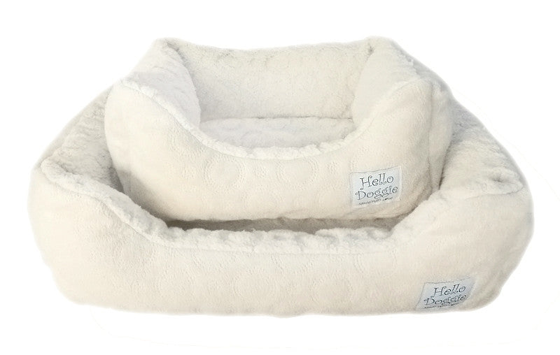 Cream Circle Print Dog Bed