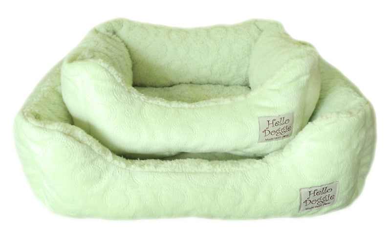 Lime Circle Print Dog Bed