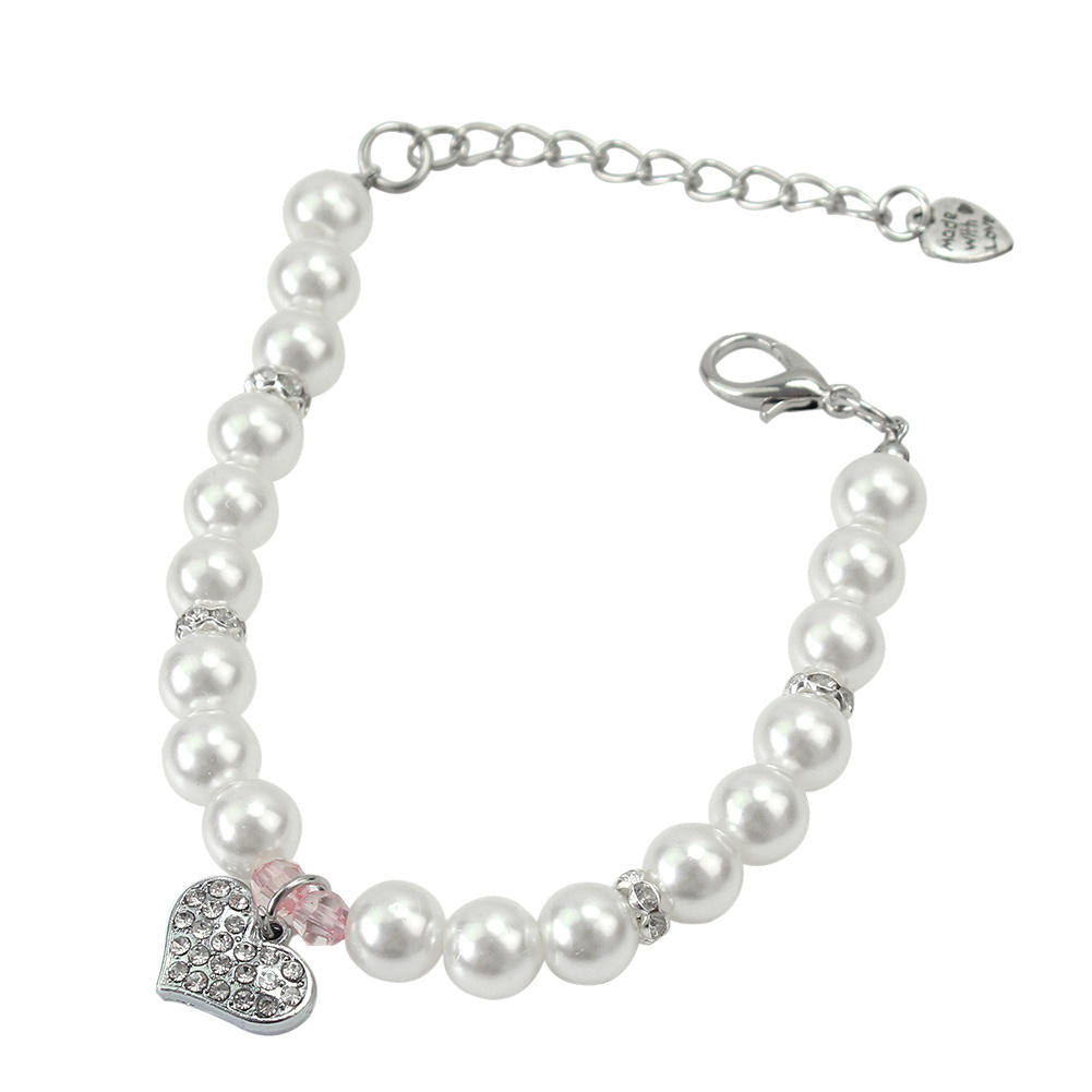 White Pearl Heart Dog Necklace