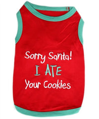 """Sorry Santa I Ate Your Cookies"" Dog Tank - Miami Pooch Pet Boutique"