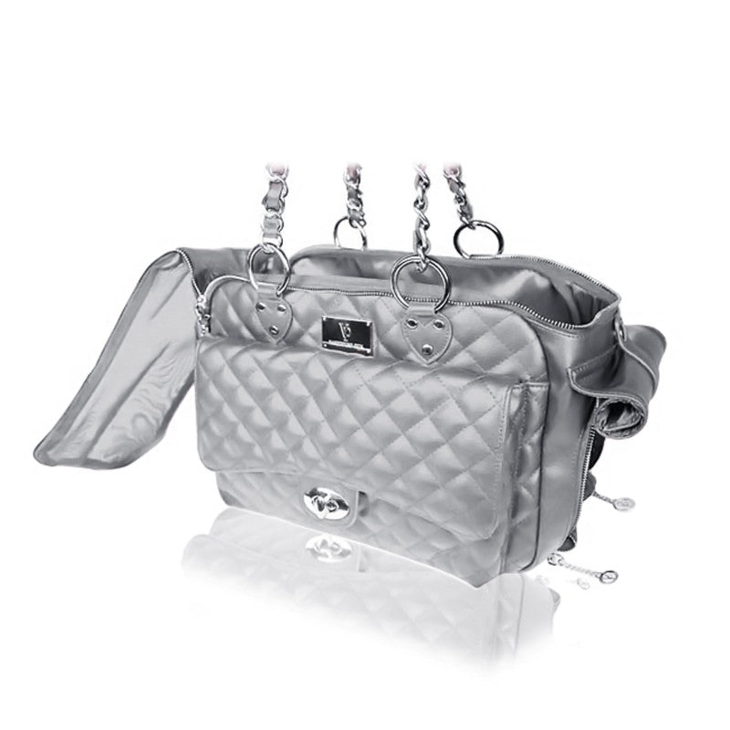 Vanderpump Quilted Classic Luxury Pet Carrier – Silver