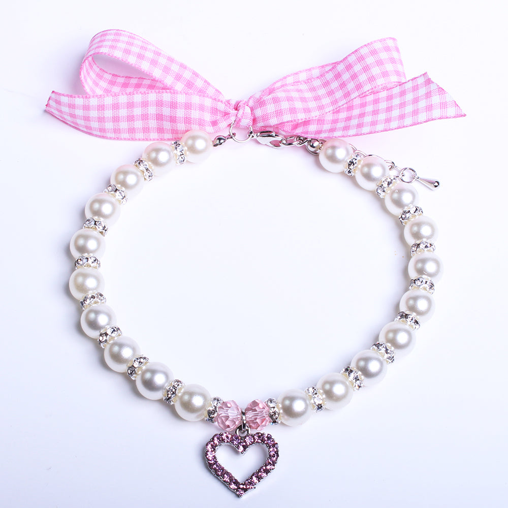 Pink Heart Charm Dog Necklace
