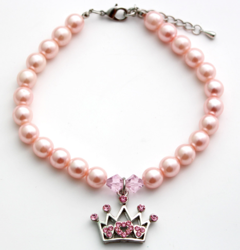 Pink Crown Dog Necklace