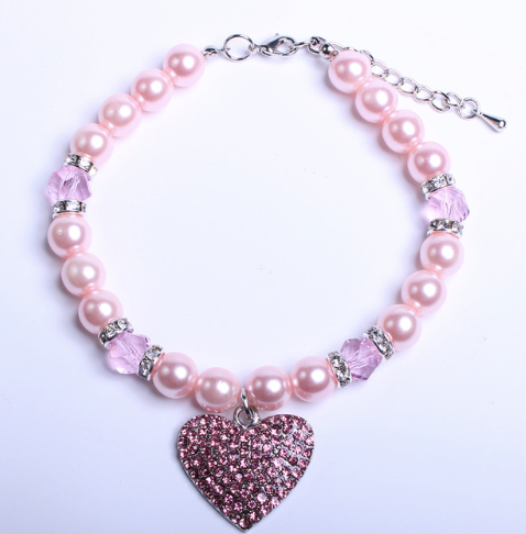 Pink Heart Dog Necklace