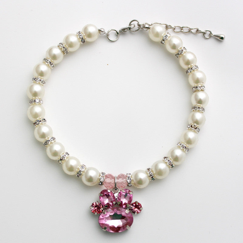 Pink Paw Pearl Dog Necklace
