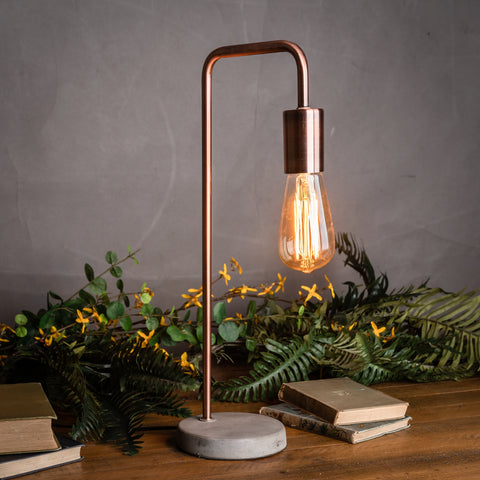 Copper Industrial style Lamp With Stone Base Lounge lighting