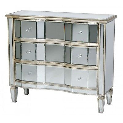 Old Venetian mirrored Chest of Drawers Antique Silver Wooden Cabinet