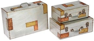 Industrial Aluminium & Copper Set Of 3 Descending Case Style Storage Trunks