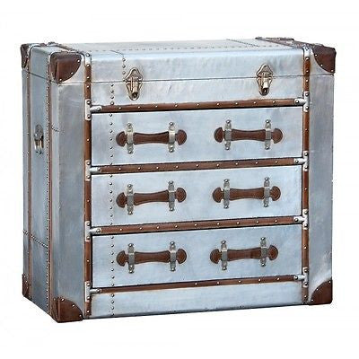 Industrial Aluminium Silver Chest of Drawers Aviator Vintage Luggage Style