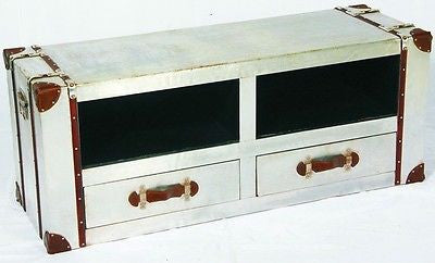 Industrial Aluminium Media Unit Table with Drawers Stroage Trunk Chest