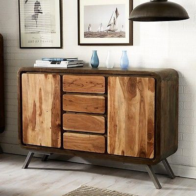 industrial style raj iron wooden sideboard bella interiors sussex. Black Bedroom Furniture Sets. Home Design Ideas