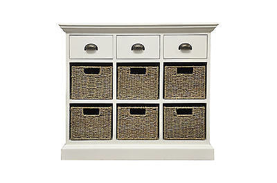 shabby chic 3 Drawer 6 Basket Unit  Antique White storage chest of drawers